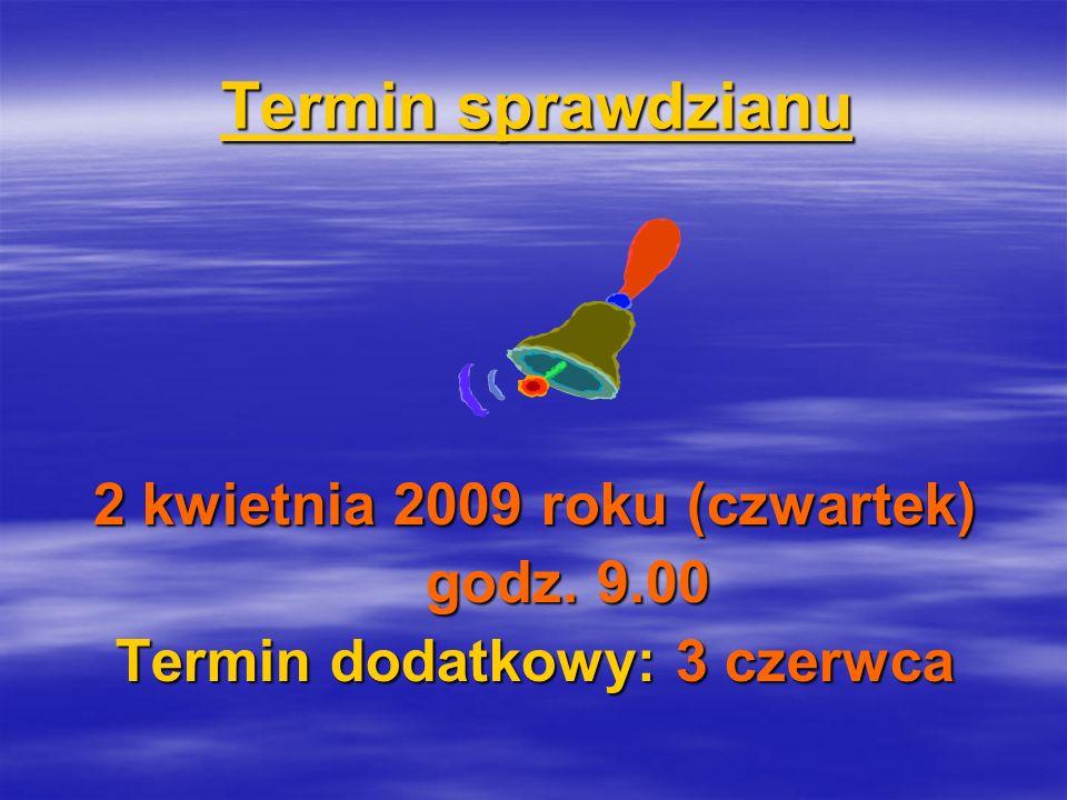Termin sprawdzianu Termin sprawdzianu 2 kwietnia 2009 roku (czwartek) godz.