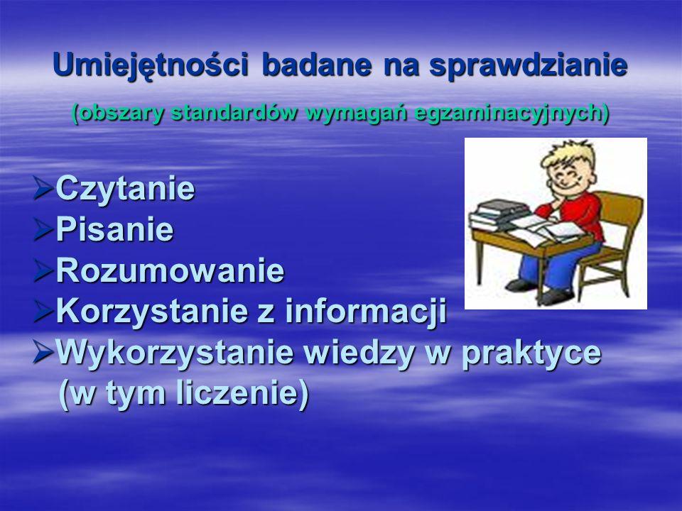 Umiejętności badane na sprawdzianie (obszary standardów wymagań egzaminacyjnych) Czytanie Czytanie Pisanie Pisanie Rozumowanie Rozumowanie Korzystanie z informacji Korzystanie z informacji Wykorzystanie wiedzy w praktyce Wykorzystanie wiedzy w praktyce (w tym liczenie) (w tym liczenie)
