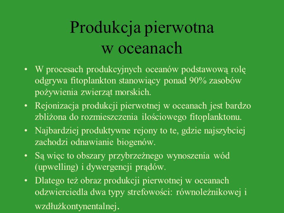 Produkcja pierwotna w zbiornikach śródlądowych Jeziora oligotroficzne strefy umiarkowanej charakteryzują się niską produkcją wynoszącą około 100 mg C/
