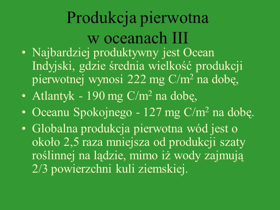 Produkcja pierwotna w oceanach II W Oceanie Spokojnym wielkość produkcji pierwotnej waha się od kilkudziesięciu miligramów do 650 mg węgla pod 1 m 2 n