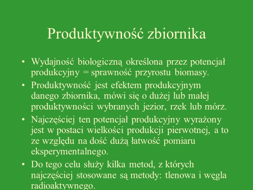 Produktywność zbiornika Wydajność biologiczną określona przez potencjał produkcyjny = sprawność przyrostu biomasy.