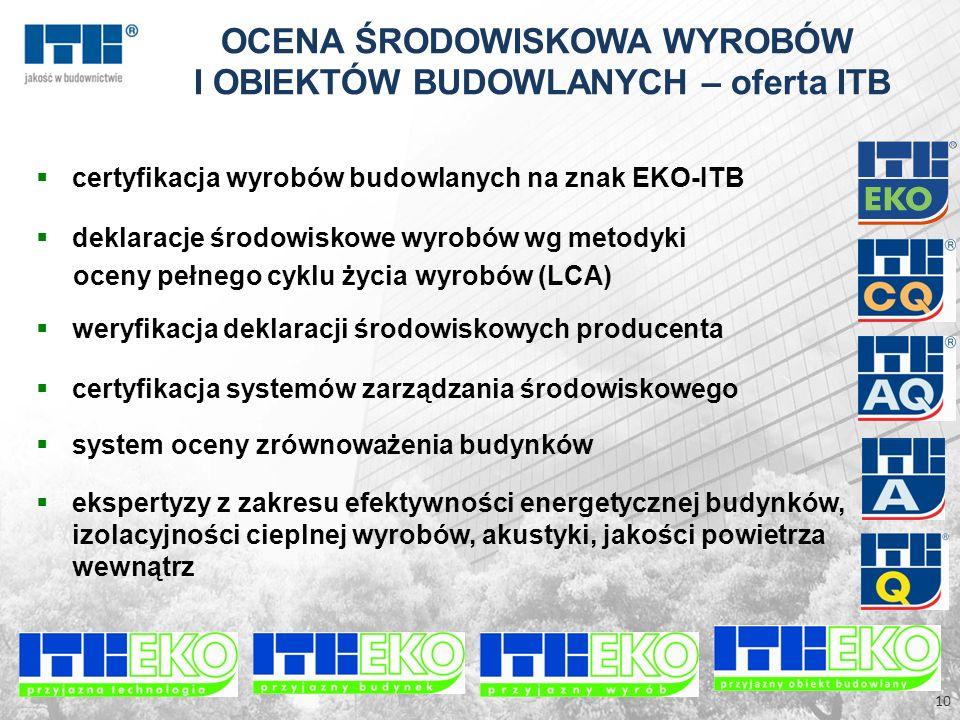 certyfikacja wyrobów budowlanych na znak EKO-ITB deklaracje środowiskowe wyrobów wg metodyki oceny pełnego cyklu życia wyrobów (LCA) weryfikacja dekla