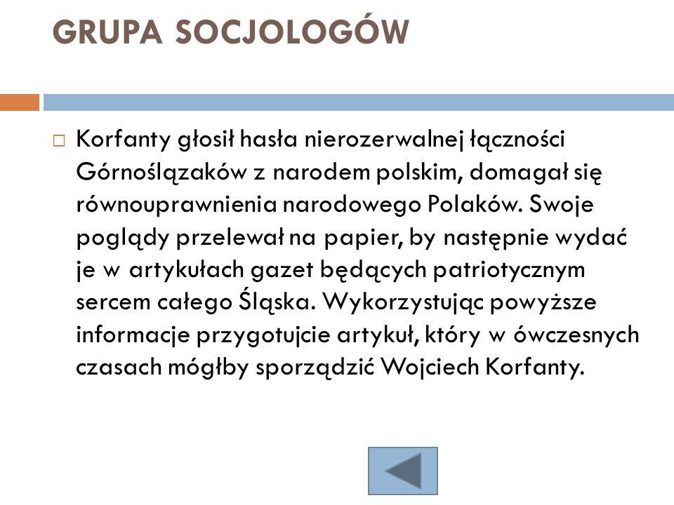 GRUPA SOCJOLOGÓW Korfanty głosił hasła nierozerwalnej łączności Górnoślązaków z narodem polskim, domagał się równouprawnienia narodowego Polaków. Swoj