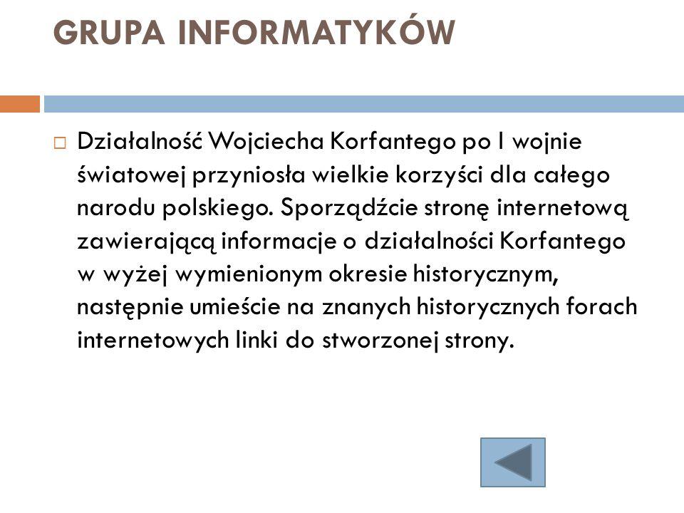GRUPA INFORMATYKÓW Działalność Wojciecha Korfantego po I wojnie światowej przyniosła wielkie korzyści dla całego narodu polskiego. Sporządźcie stronę