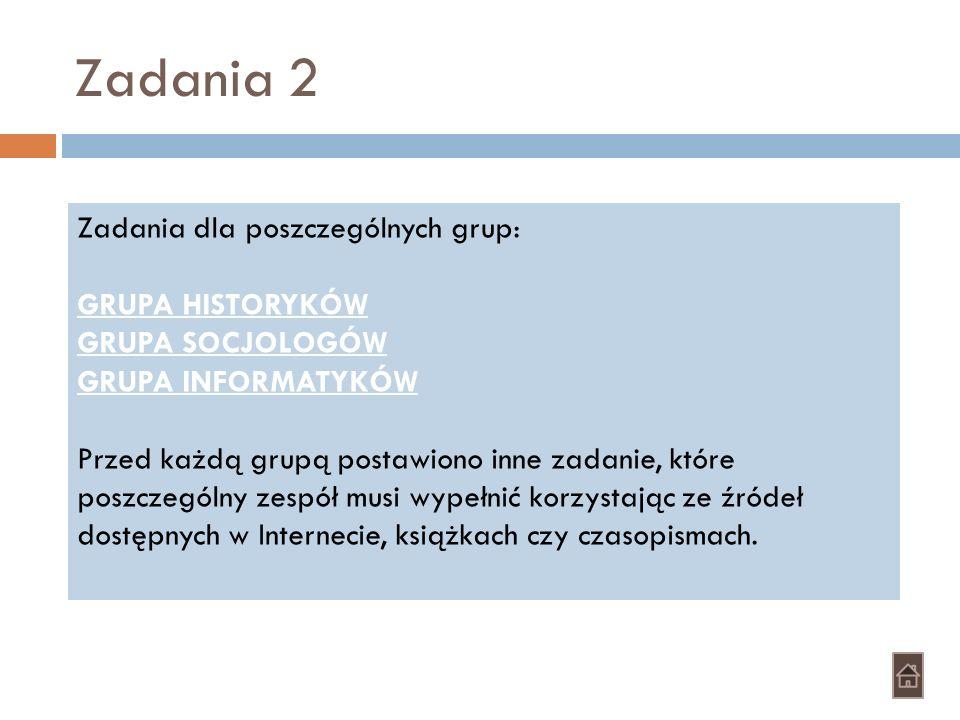 Zadania 2 Zadania dla poszczególnych grup: GRUPA HISTORYKÓW GRUPA SOCJOLOGÓW GRUPA INFORMATYKÓW Przed każdą grupą postawiono inne zadanie, które poszc