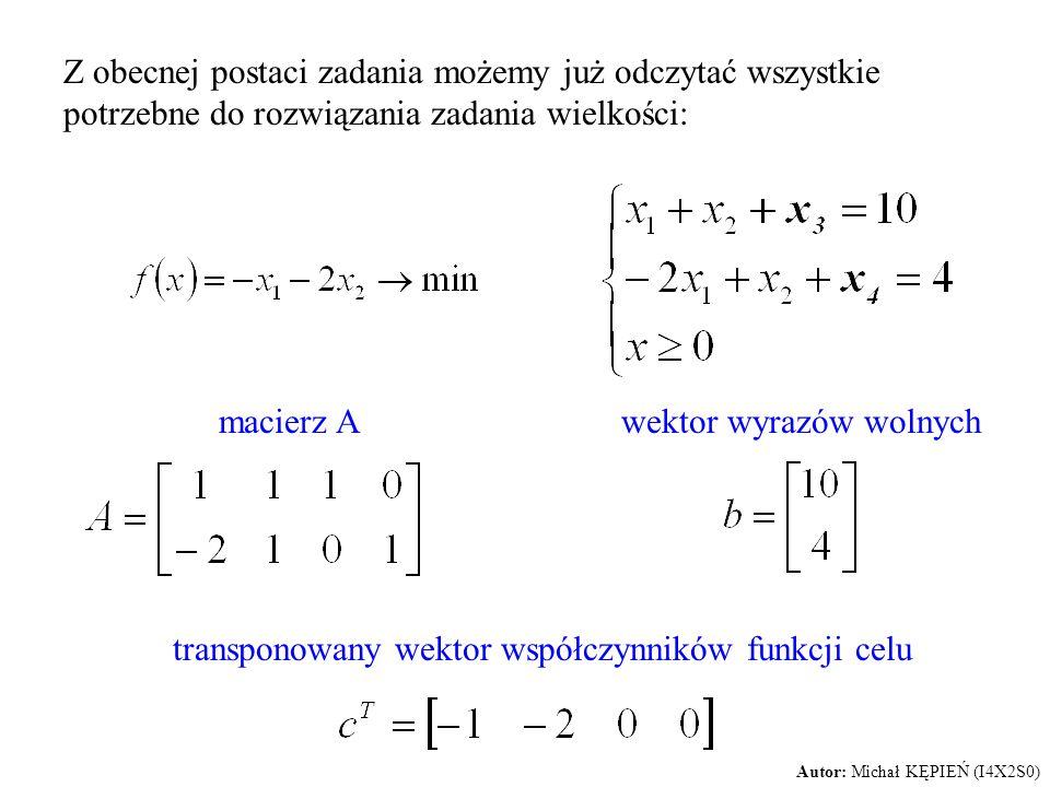 Z obecnej postaci zadania możemy już odczytać wszystkie potrzebne do rozwiązania zadania wielkości: macierz Awektor wyrazów wolnych transponowany wekt