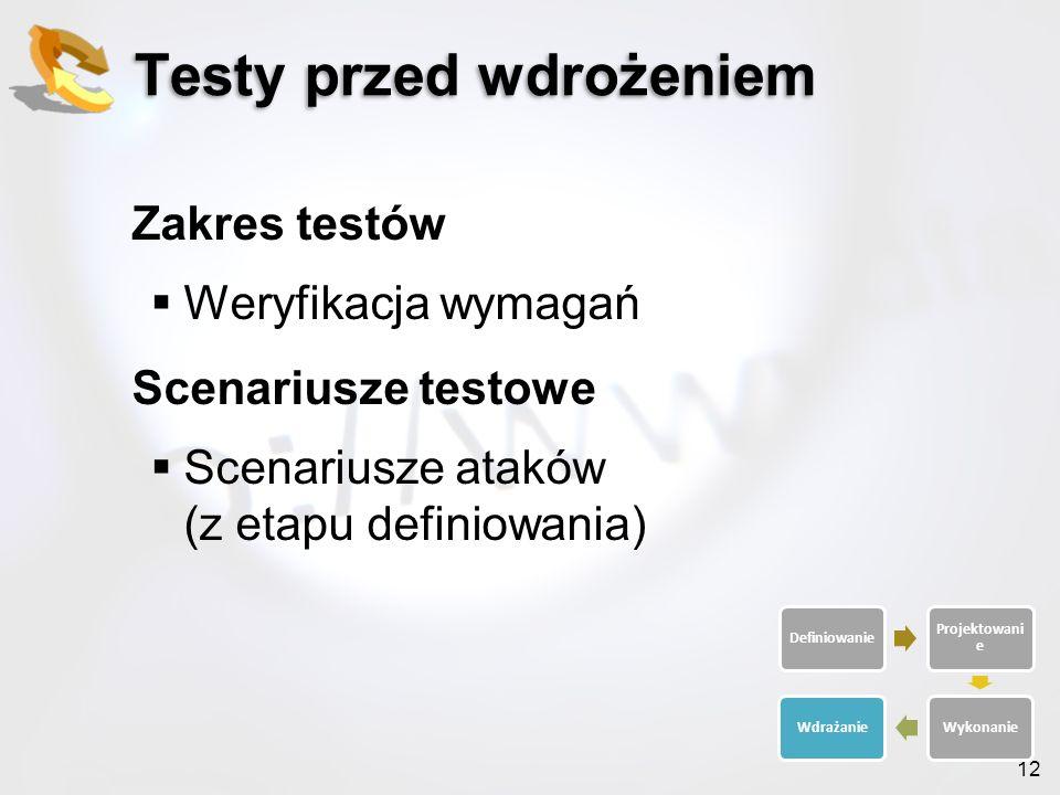 12 Testy przed wdrożeniem Zakres testów Weryfikacja wymagań Scenariusze testowe Scenariusze ataków (z etapu definiowania) Definiowanie Projektowani e