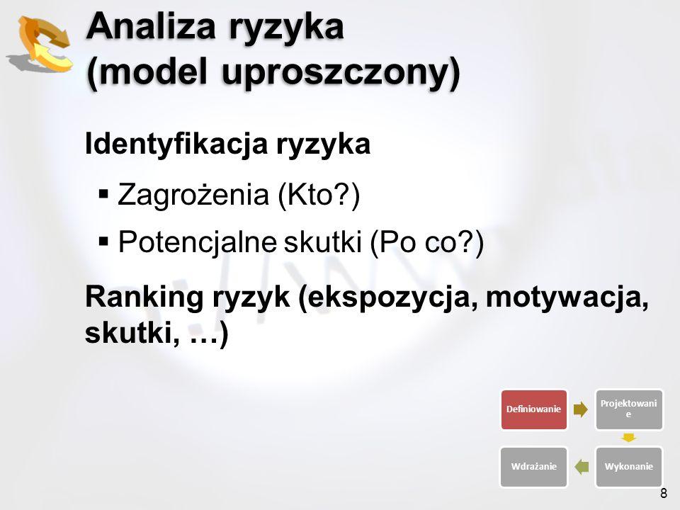 8 Analiza ryzyka (model uproszczony) Identyfikacja ryzyka Zagrożenia (Kto?) Potencjalne skutki (Po co?) Ranking ryzyk (ekspozycja, motywacja, skutki,