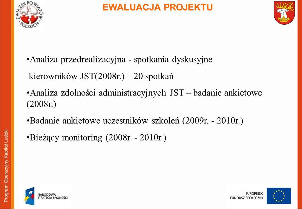EWALUACJA PROJEKTU Analiza przedrealizacyjna - spotkania dyskusyjne kierowników JST(2008r.) – 20 spotkań Analiza zdolności administracyjnych JST – badanie ankietowe (2008r.) Badanie ankietowe uczestników szkoleń (2009r.