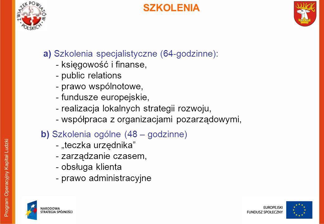 SZKOLENIA a) Szkolenia specjalistyczne (64-godzinne): - księgowość i finanse, - public relations - prawo wspólnotowe, - fundusze europejskie, - realizacja lokalnych strategii rozwoju, - współpraca z organizacjami pozarządowymi, b) Szkolenia ogólne (48 – godzinne) - teczka urzędnika - zarządzanie czasem, - obsługa klienta - prawo administracyjne