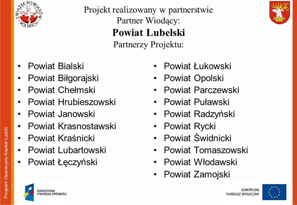 Projekt realizowany w partnerstwie Partner Wiodący: Powiat Lubelski Partnerzy Projektu: Powiat Bialski Powiat Biłgorajski Powiat Chełmski Powiat Hrubi