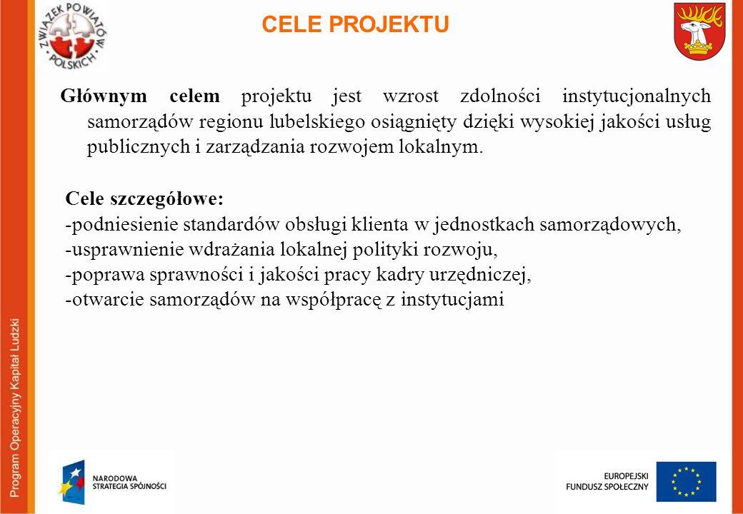 Głównym celem projektu jest wzrost zdolności instytucjonalnych samorządów regionu lubelskiego osiągnięty dzięki wysokiej jakości usług publicznych i z
