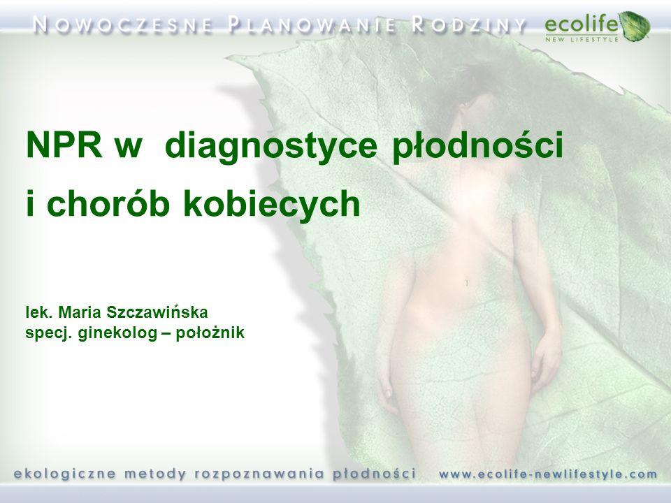 NPR w diagnostyce płodności i chorób kobiecych lek. Maria Szczawińska specj. ginekolog – położnik