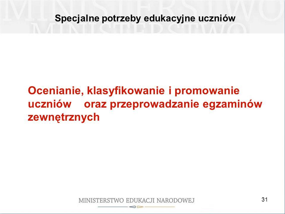 31 Specjalne potrzeby edukacyjne uczniów Ocenianie, klasyfikowanie i promowanie uczniów oraz przeprowadzanie egzaminów zewnętrznych