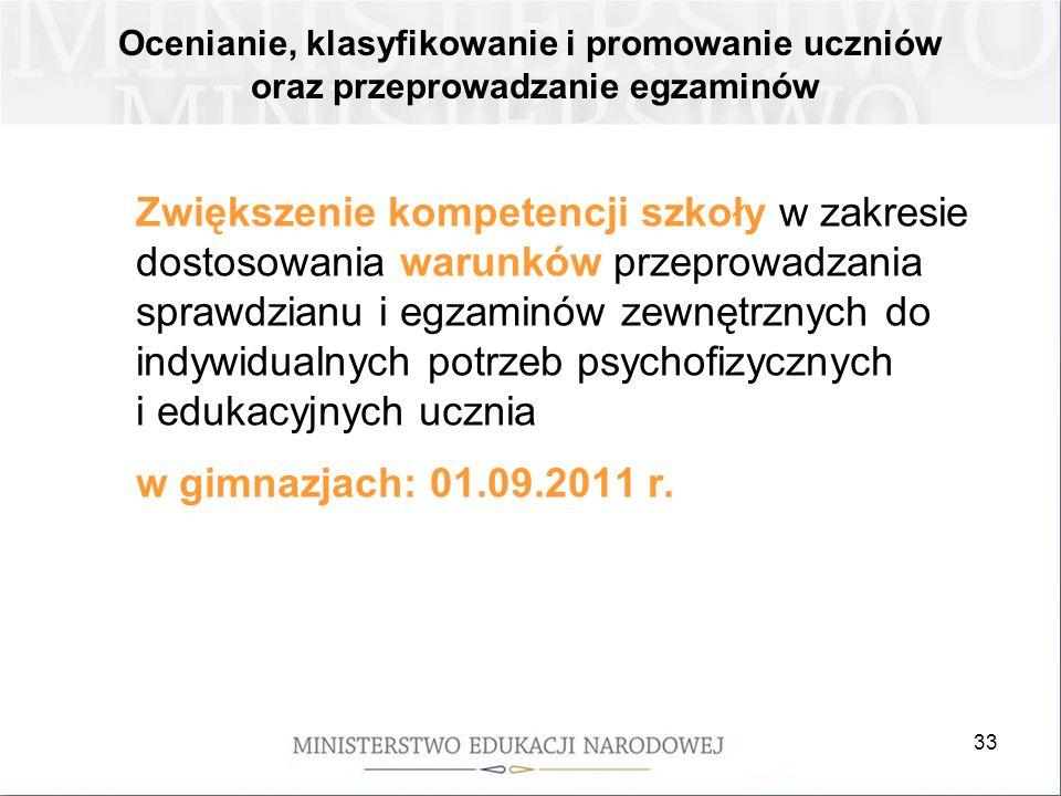 33 Zwiększenie kompetencji szkoły w zakresie dostosowania warunków przeprowadzania sprawdzianu i egzaminów zewnętrznych do indywidualnych potrzeb psychofizycznych i edukacyjnych ucznia w gimnazjach: 01.09.2011 r.