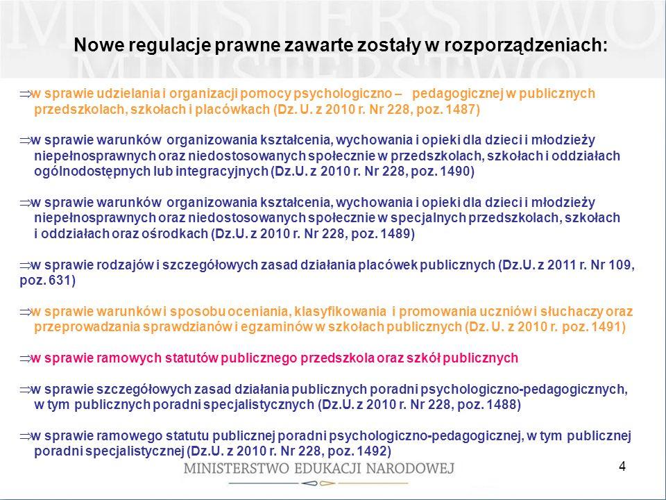 4 Nowe regulacje prawne zawarte zostały w rozporządzeniach: w sprawie udzielania i organizacji pomocy psychologiczno – pedagogicznej w publicznych przedszkolach, szkołach i placówkach (Dz.