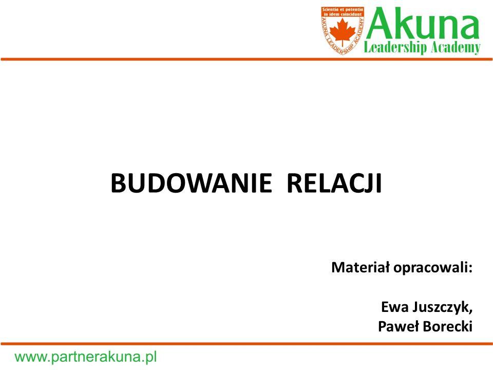 BUDOWANIE RELACJI Materiał opracowali: Ewa Juszczyk, Paweł Borecki