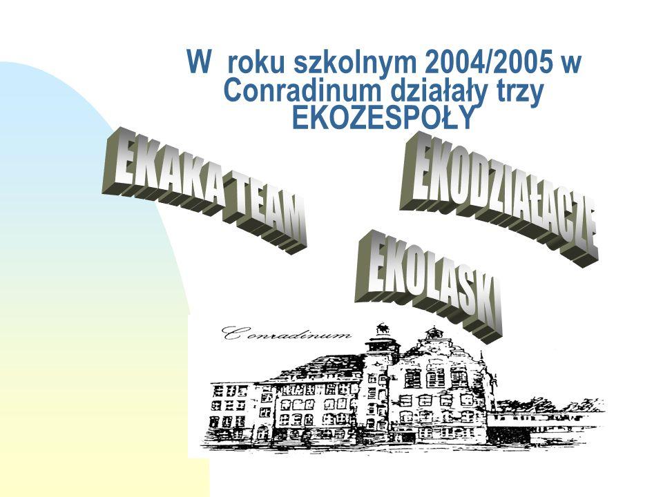 DZIAŁALNOŚĆ EKOZESPOŁÓW w SO i O CONRADINUM w roku szkolnym 2004/2005 INSTRUKTORZY: mgr Magdalena Ankiewicz - Kopicka mgr Monika Kulesza - Cisiak mgr Joanna Wieczorek
