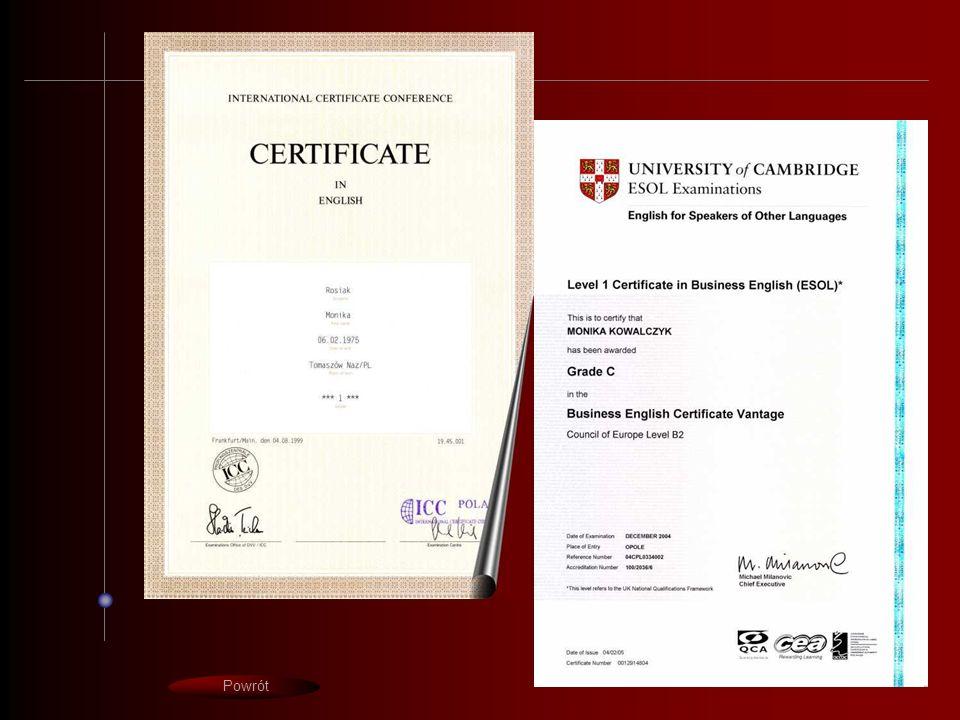 certyfikaty Powrót