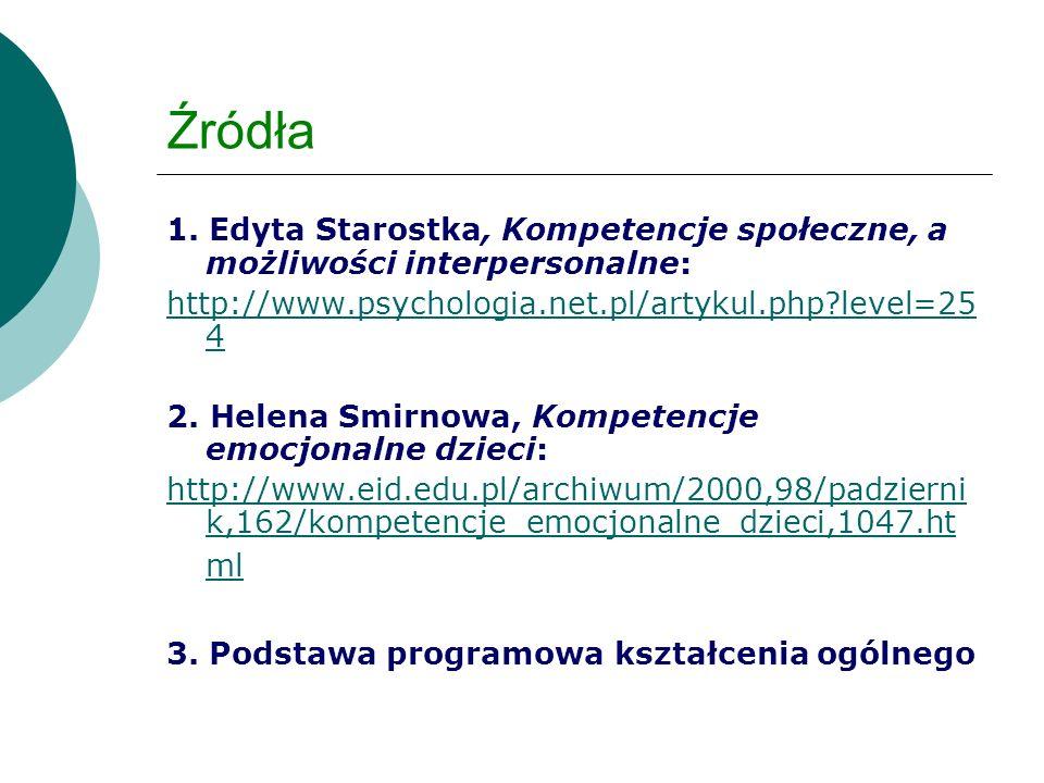 Źródła 1. Edyta Starostka, Kompetencje społeczne, a możliwości interpersonalne: http://www.psychologia.net.pl/artykul.php?level=25 4 2. Helena Smirnow