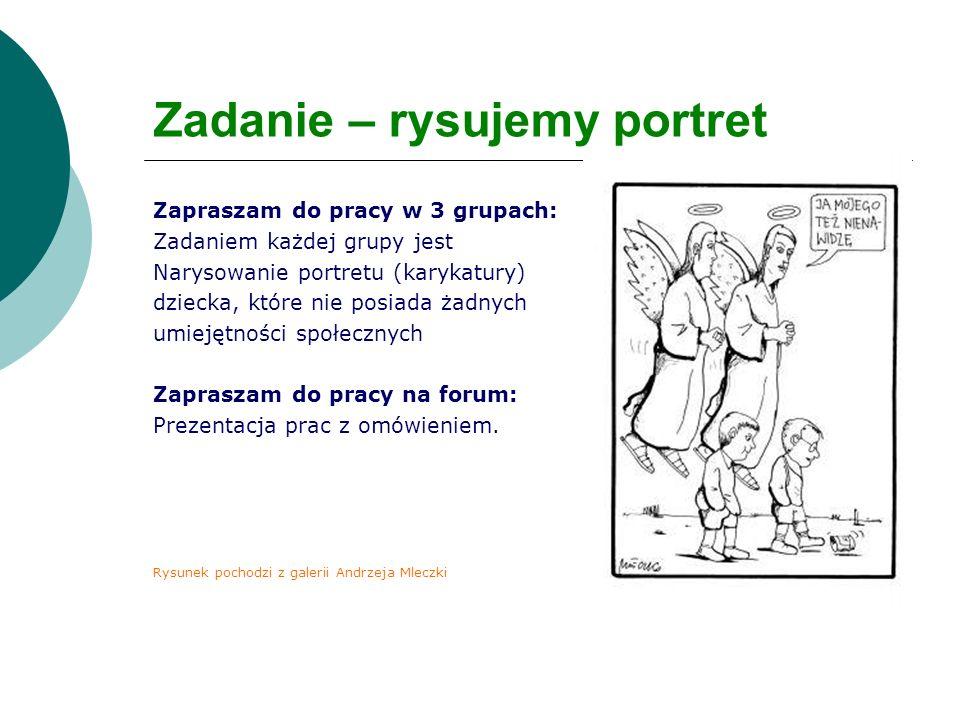 Zadanie – rysujemy portret Zapraszam do pracy w 3 grupach: Zadaniem każdej grupy jest Narysowanie portretu (karykatury) dziecka, które nie posiada żad