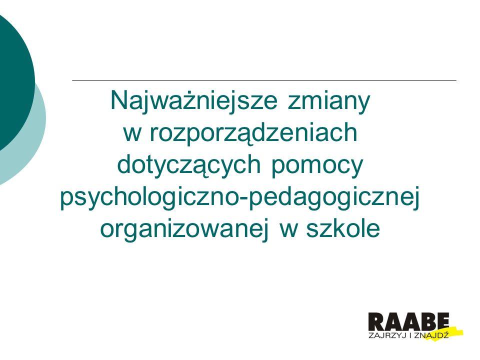 Najważniejsze zmiany w rozporządzeniach dotyczących pomocy psychologiczno-pedagogicznej organizowanej w szkole