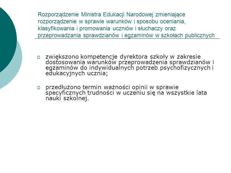 Rozporządzenie Ministra Edukacji Narodowej zmieniające rozporządzenie w sprawie warunków i sposobu oceniania, klasyfikowania i promowania uczniów i sł