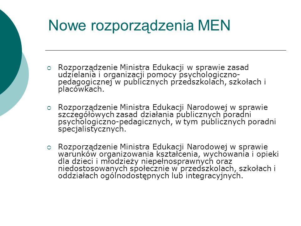 Nowe rozporządzenia MEN Rozporządzenie Ministra Edukacji w sprawie zasad udzielania i organizacji pomocy psychologiczno- pedagogicznej w publicznych przedszkolach, szkołach i placówkach.