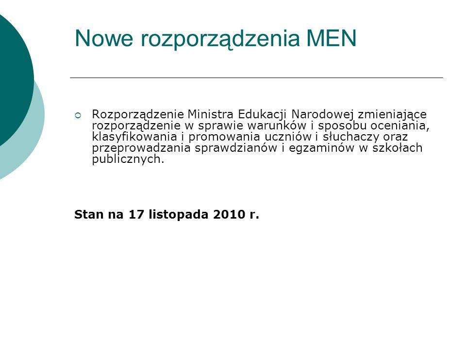 Nowe rozporządzenia MEN Rozporządzenie Ministra Edukacji Narodowej zmieniające rozporządzenie w sprawie warunków i sposobu oceniania, klasyfikowania i
