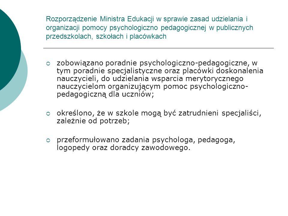 Rozporządzenie Ministra Edukacji w sprawie zasad udzielania i organizacji pomocy psychologiczno pedagogicznej w publicznych przedszkolach, szkołach i