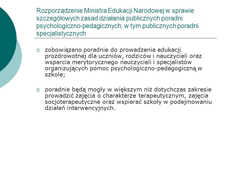 Rozporządzenie Ministra Edukacji Narodowej w sprawie szczegółowych zasad działania publicznych poradni psychologiczno-pedagicznych, w tym publicznych