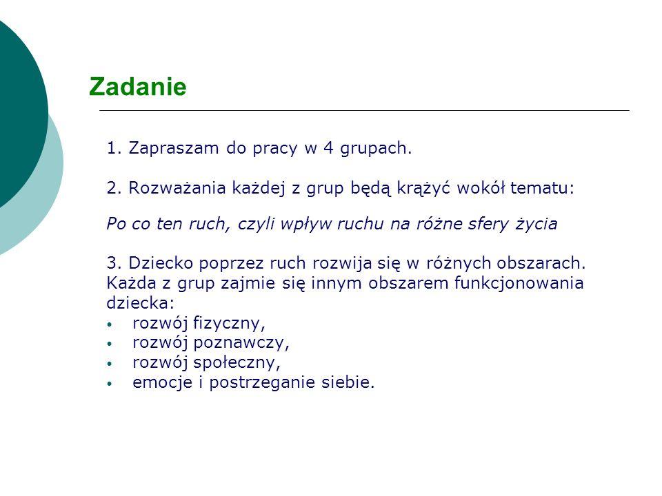 Zadanie 1.Zapraszam do pracy w 4 grupach. 2.
