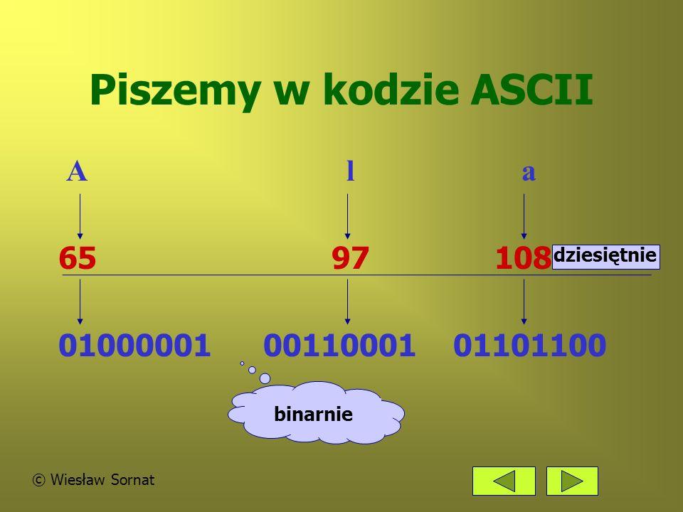 Piszemy w kodzie ASCII A l a 65 97 108 0100000100110001 01101100 binarnie dziesiętnie © Wiesław Sornat
