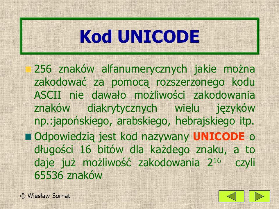 Kod UNICODE 256 znaków alfanumerycznych jakie można zakodować za pomocą rozszerzonego kodu ASCII nie dawało możliwości zakodowania znaków diakrytycznych wielu języków np.:japońskiego, arabskiego, hebrajskiego itp.
