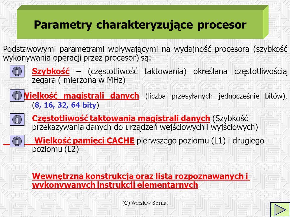 (C) Wiesław Sornat Parametry charakteryzujące procesor Podstawowymi parametrami wpływającymi na wydajność procesora (szybkość wykonywania operacji prz
