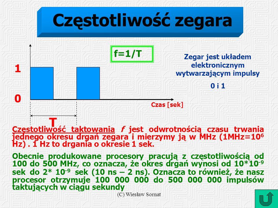 (C) Wiesław Sornat Częstotliwość zegara Czas [sek] T 1 0 Częstotliwość taktowania f jest odwrotnością czasu trwania jednego okresu drgań zegara i mier
