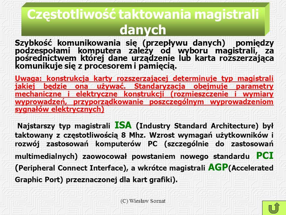 (C) Wiesław Sornat Częstotliwość taktowania magistrali danych Szybkość komunikowania się (przepływu danych) pomiędzy podzespołami komputera zależy od