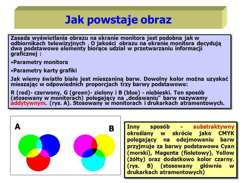 Zasada wyświetlania obrazu na ekranie monitora jest podobna jak w odbiornikach telewizyjnych. O jakości obrazu na ekranie monitora decydują dwa podsta