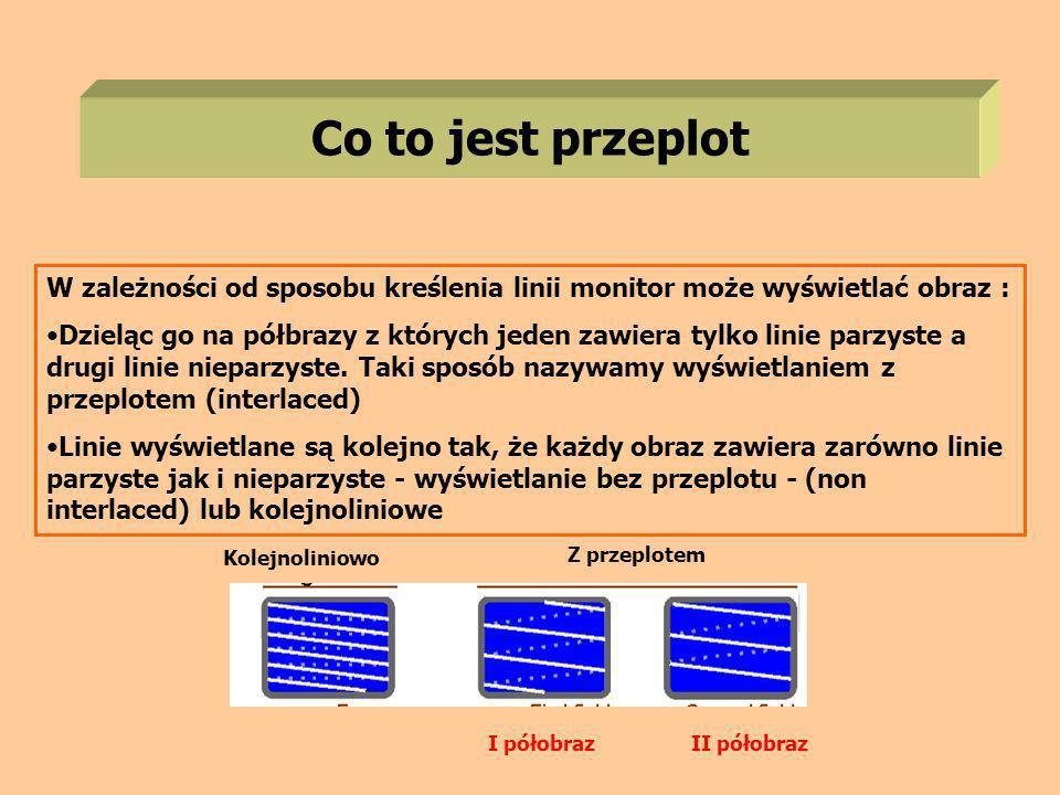 Co to jest przeplot W zależności od sposobu kreślenia linii monitor może wyświetlać obraz : Dzieląc go na półbrazy z których jeden zawiera tylko linie