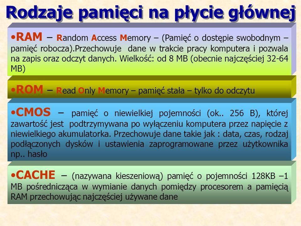 RAM – Random Access Memory – (Pamięć o dostępie swobodnym – pamięć robocza).Przechowuje dane w trakcie pracy komputera i pozwala na zapis oraz odczyt