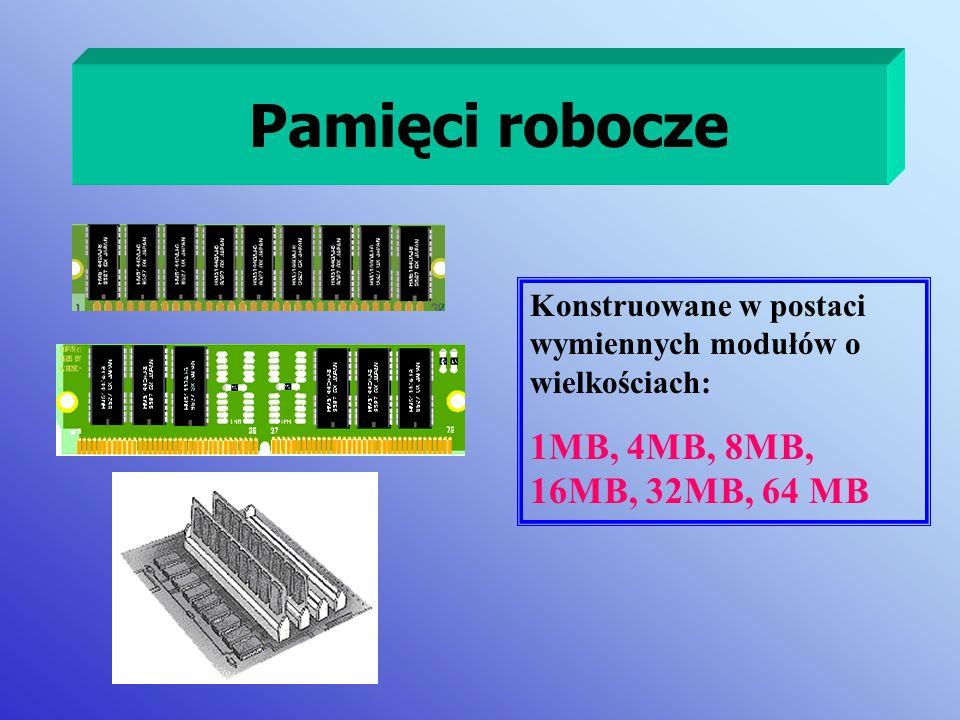 Pamięci robocze Konstruowane w postaci wymiennych modułów o wielkościach: 1MB, 4MB, 8MB, 16MB, 32MB, 64 MB