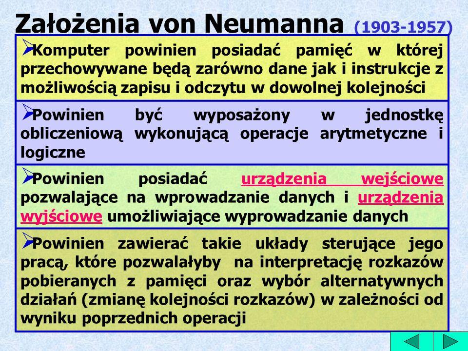 Założenia von Neumanna (1903-1957) Komputer powinien posiadać pamięć w której przechowywane będą zarówno dane jak i instrukcje z możliwością zapisu i