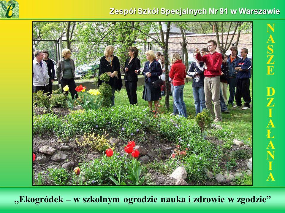 Wybrane działania w ramach zdobywania Zielonego Certyfikatu Ekogródek – w szkolnym ogrodzie nauka i zdrowie w zgodzie NASZE DZIAŁANIANASZE DZIAŁANIA Zespół Szkół Specjalnych Nr 91 w Warszawie