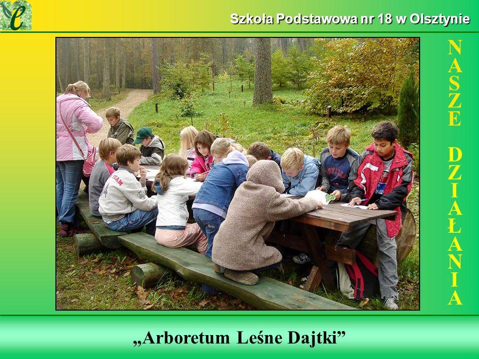 Wybrane działania w ramach zdobywania Zielonego Certyfikatu Arboretum Leśne Dajtki NASZE DZIAŁANIANASZE DZIAŁANIA Szkoła Podstawowa nr 18 w Olsztynie