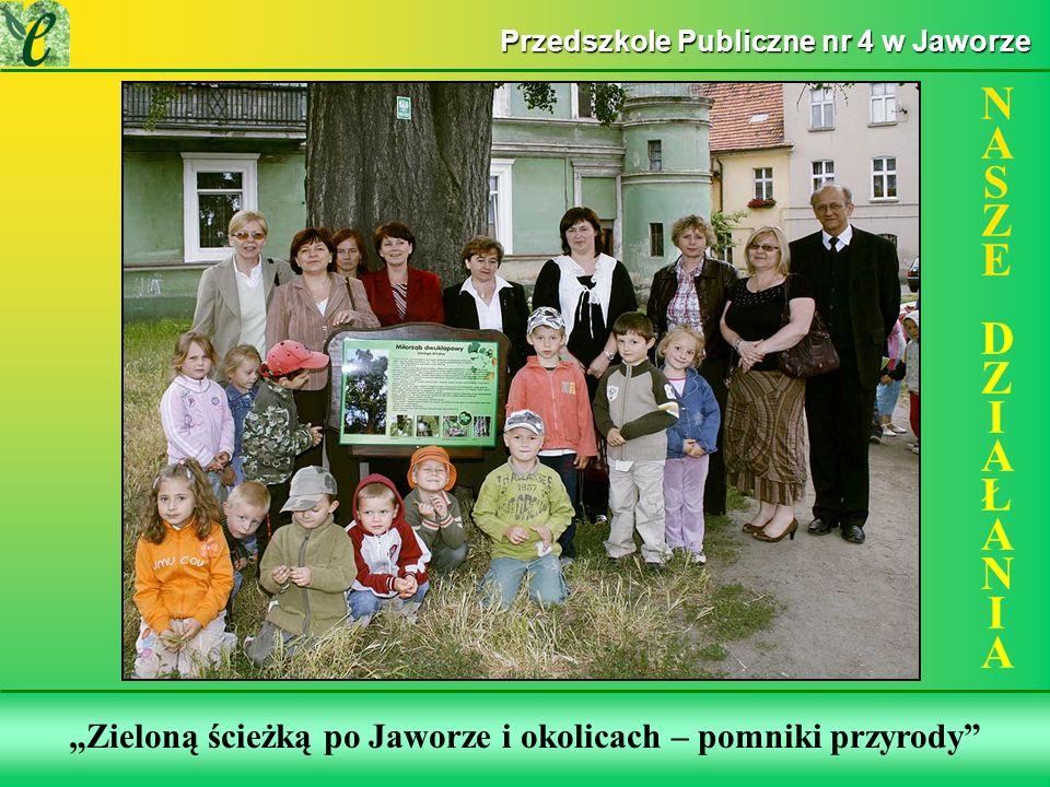 Wybrane działania w ramach zdobywania Zielonego Certyfikatu Zieloną ścieżką po Jaworze i okolicach – pomniki przyrody NASZE DZIAŁANIANASZE DZIAŁANIA P