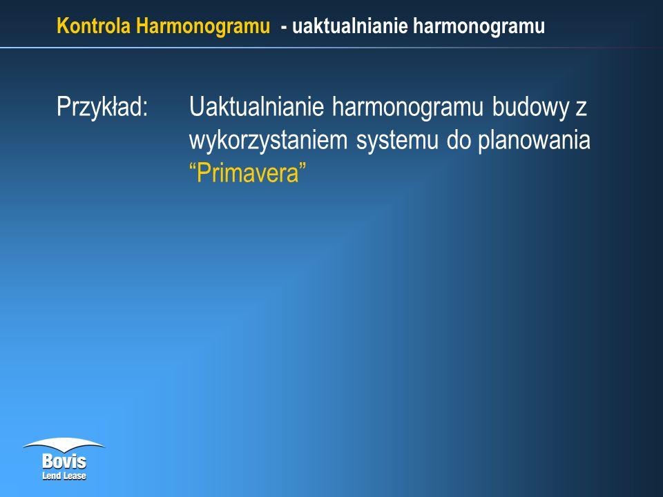 Kontrola Harmonogramu - uaktualnianie harmonogramu Przykład: Uaktualnianie harmonogramu budowy z wykorzystaniem systemu do planowania Primavera