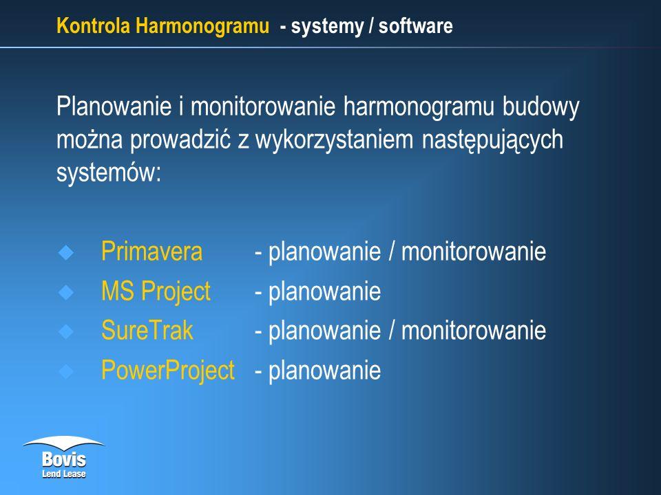 Kontrola Harmonogramu - systemy / software Planowanie i monitorowanie harmonogramu budowy można prowadzić z wykorzystaniem następujących systemów: Primavera- planowanie / monitorowanie MS Project- planowanie SureTrak- planowanie / monitorowanie PowerProject - planowanie