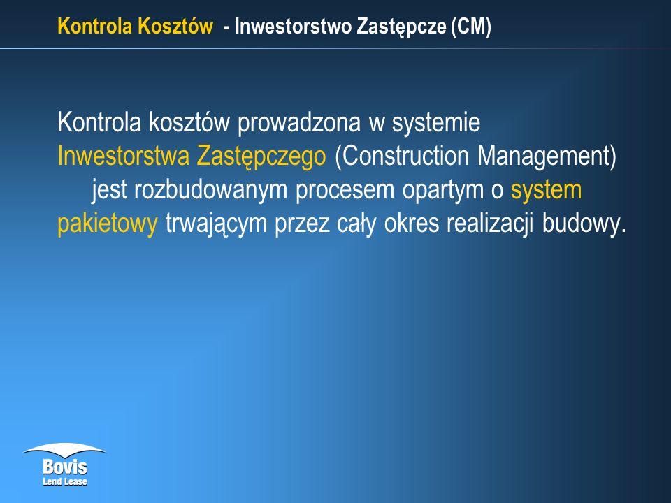 Kontrola Kosztów - Inwestorstwo Zastępcze (CM) Kontrola kosztów prowadzona w systemie Inwestorstwa Zastępczego (Construction Management) jest rozbudowanym procesem opartym o system pakietowy trwającym przez cały okres realizacji budowy.