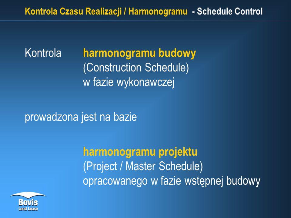 Kontrola Czasu Realizacji / Harmonogramu - Schedule Control Kontrola harmonogramu budowy (Construction Schedule) w fazie wykonawczej prowadzona jest na bazie harmonogramu projektu (Project / Master Schedule) opracowanego w fazie wstępnej budowy