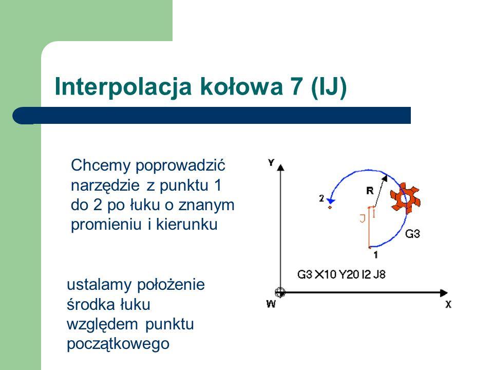 Interpolacja kołowa 7 (IJ) Chcemy poprowadzić narzędzie z punktu 1 do 2 po łuku o znanym promieniu i kierunku ustalamy położenie środka łuku względem